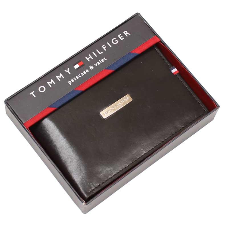 Portofel de piele neagra Tommy Hilfiger, in cutie cadou