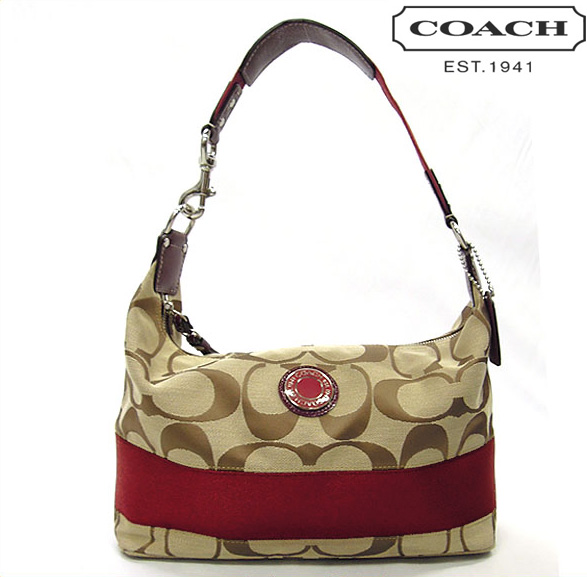 Geanta Coach Signature Stripe Hobo Crimson Red - fata