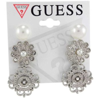 Set de 3 perechi cercei Guess argintii cu perle si cristale