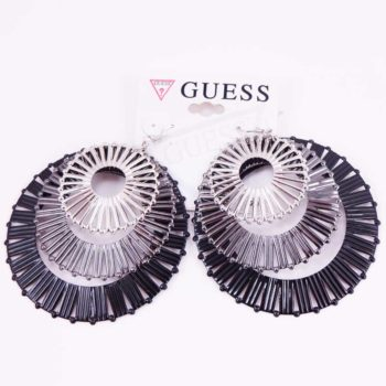 Cercei Guess 3 rozete nuante argintiu, gri si negru - American Fashion Outlet