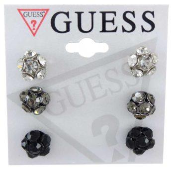 Set 3 perechi cercei Guess - sfere cu cristale albe, gri si negre