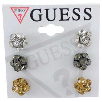 Set 3 perechi cercei Guess - sfere cu cristale albe, argintii si aurii