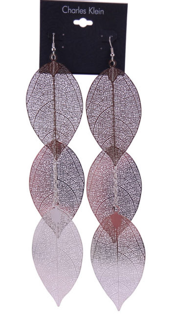 Cercei Charles Klein argintii in forma de frunza 3