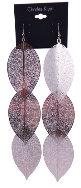 Cercei Charles Klein argintii in forma de frunza 2