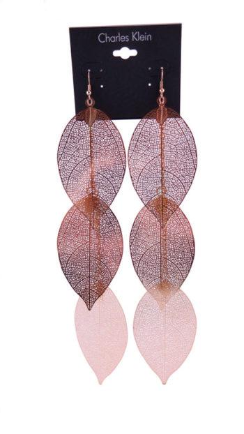 Cercei Charles Klein aurii in forma de frunza