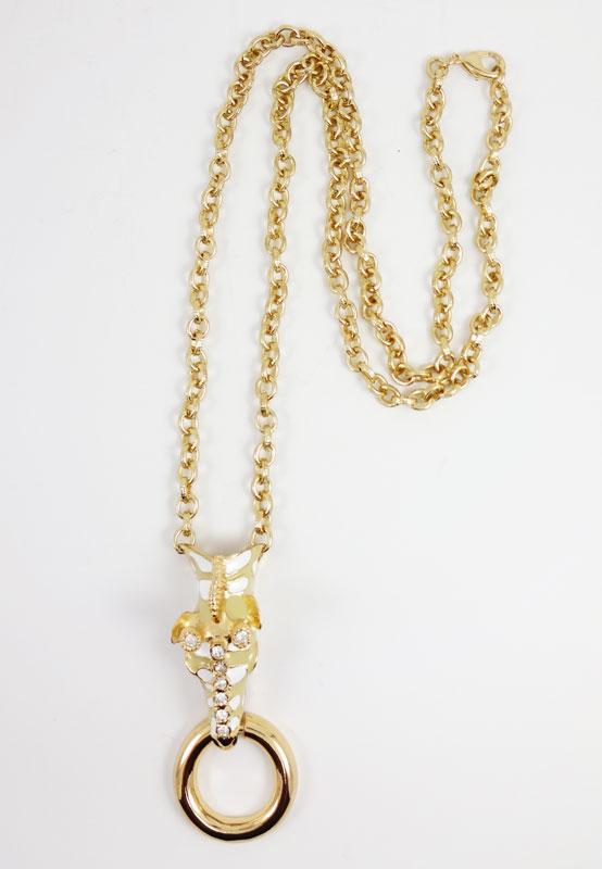 Colier LOFT auriu cu car de girafa stilizata 92 cm