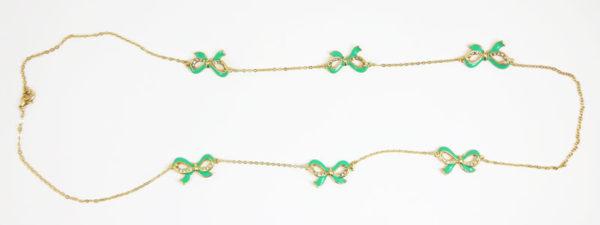 Colier LOFT auriu cu cristale si fundite verzi