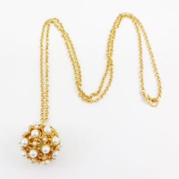 Colier LOFT auriu cu perle albe 92 cm lungime