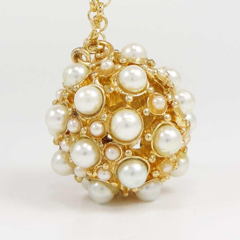 Colier LOFT auriu cu perle albe
