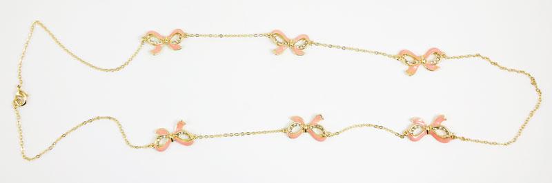 Colier LOFT auriu cu cristale si fundite roz