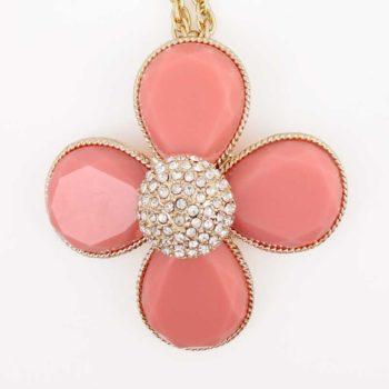 Colier LOFT floare cu 4 petale corai si sfera cu cristale