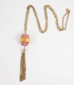 Colier LOFT cu sfera din pietre roz si portocalii