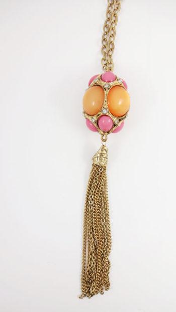 Colier LOFT cu sfera din pietre portocalii si roz