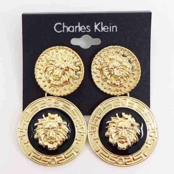 Cercei Charles Klein aurii cap de leu