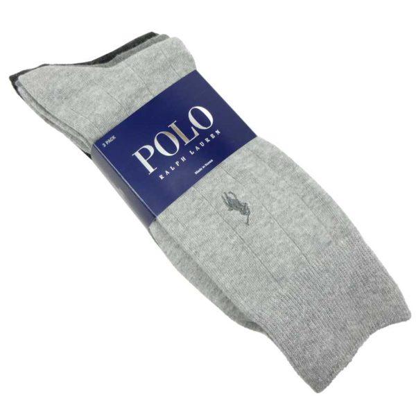 Set 3 perechi ciorapi Polo Ralph Lauren gri si negru