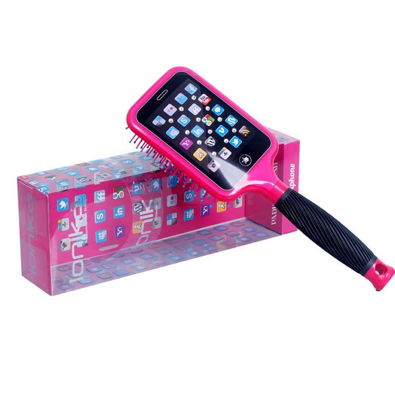 Perie de par plata Ionika Bling Brush Smartphone Pink