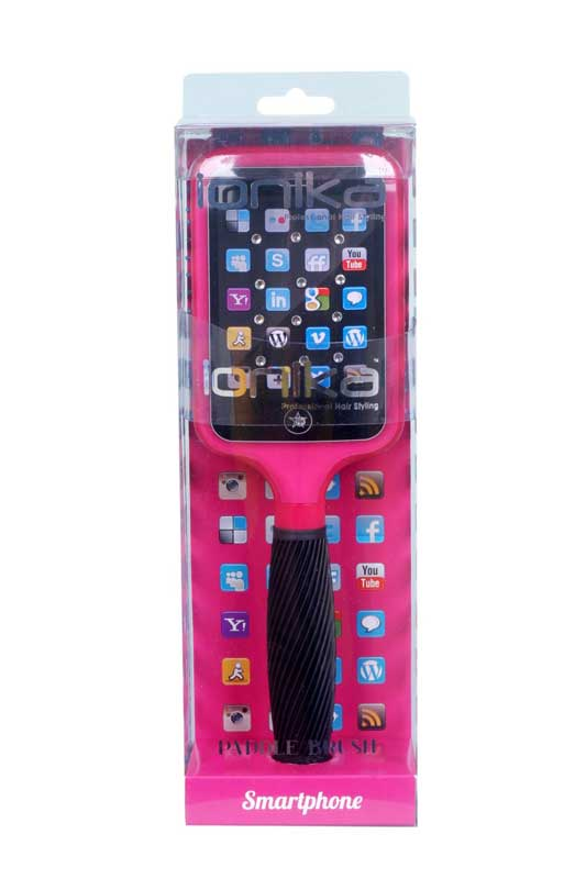 Perie de par plata Ionika Bling Brush Smartphone Pink in cutie