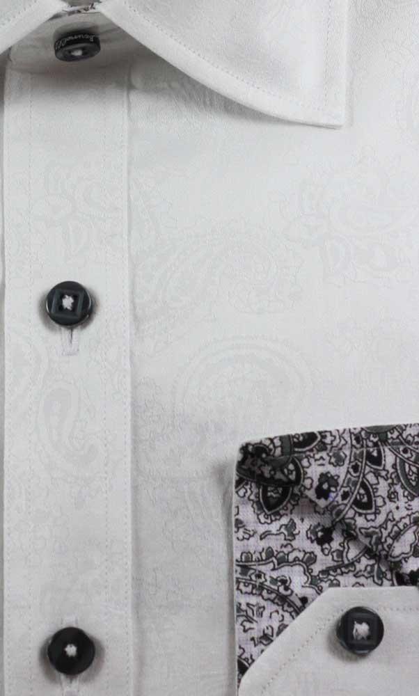 Camasa alba cu model paisley Marco Brunelli - detaliu