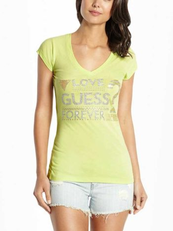 Tricou dama Guess Melody Tee lime squeeze