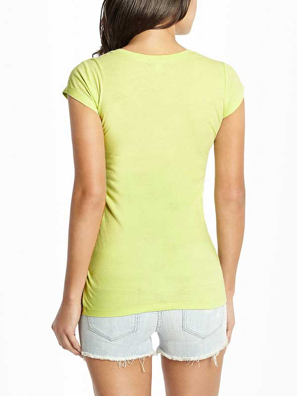 Tricou dama Guess Melody Tee verde neon