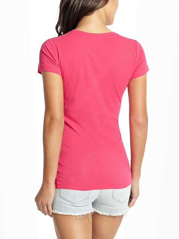 Tricou dama roz Guess Maxine Logo Tee