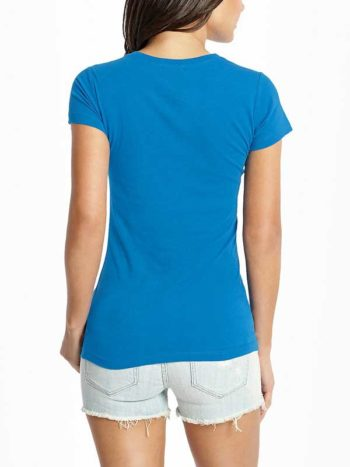 Tricou dama albastru Guess Maxine Logo Tee