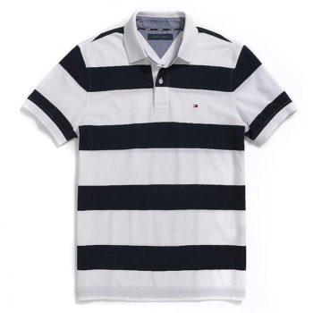Tricou barbatesc Tommy Hilfiger custom fit polo alb cu bleumarin