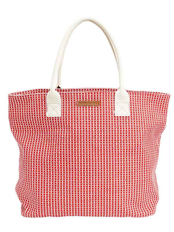 Geanta Armani Exchange Printed Canvas Tote Red
