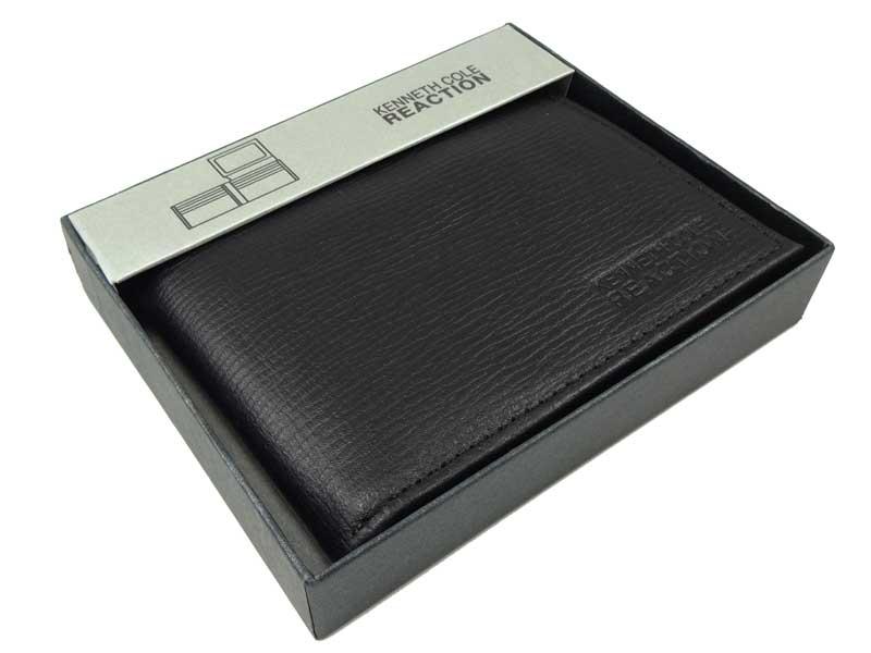 Portofel Kenneth Cole din piele neagra in cutie cadou