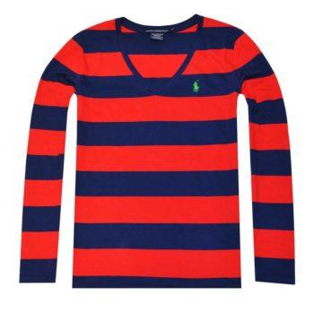 Bluza cu maneca lunga Ralph Lauren in dungi rosu albastru