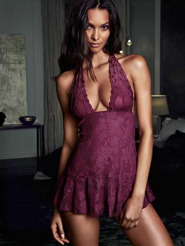 Very Sexy Lace Halter Babydoll Victoria's Secret - wine