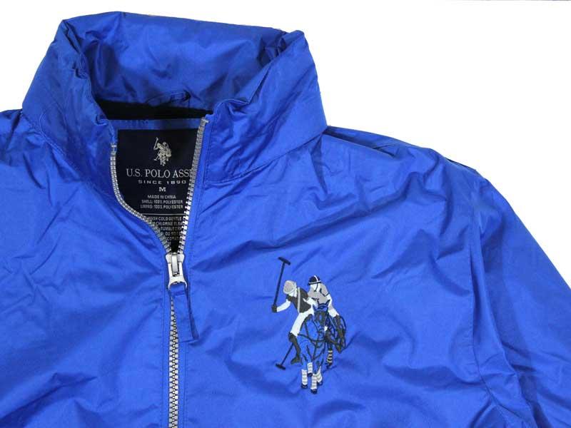 Geaca albastra de firma US Polo Assn cu ponei mare- detaliu guler