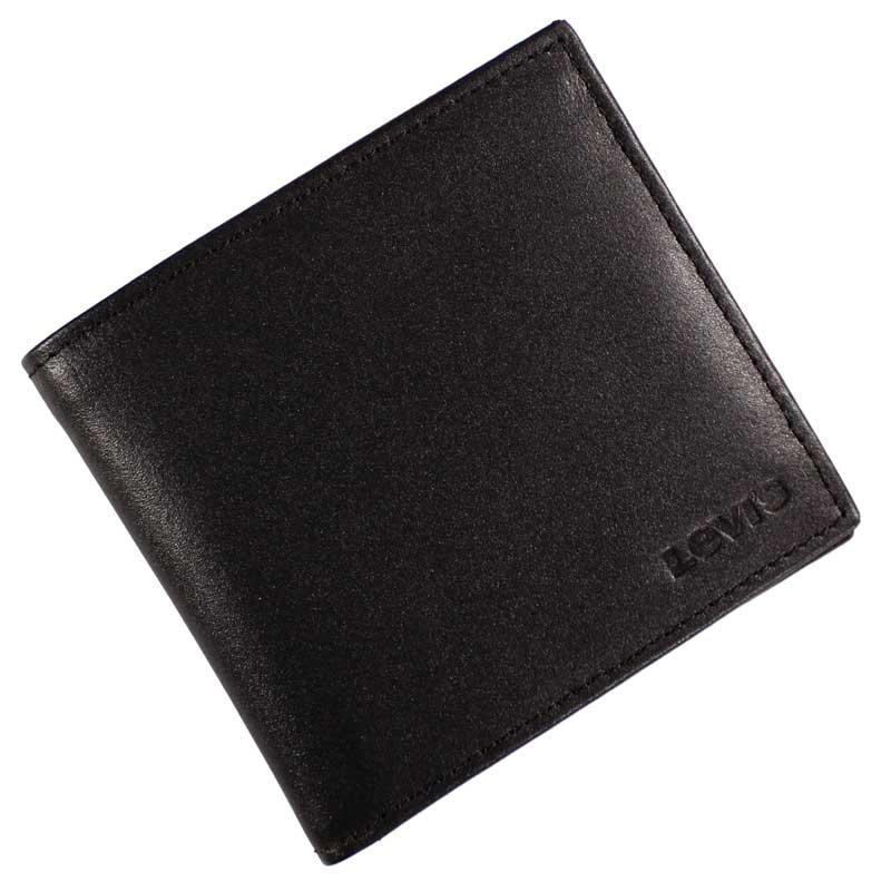 Portofel Levi's din piele neagra - logo stantat