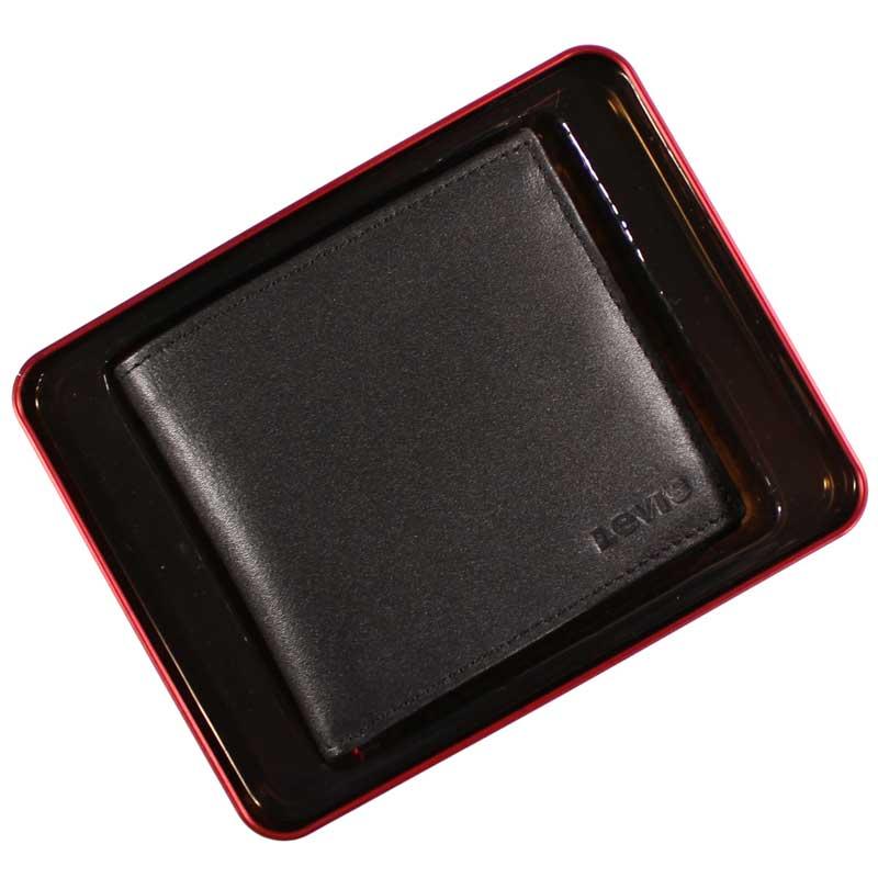Portofel Levi's din piele neagra in cutie cadou