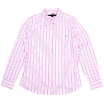 Camasa dama Tommy Hilfiger in dungi alb roz rosu