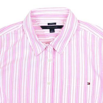 Camasa dama Tommy Hilfiger in dungi alb roz rosu - detaliu