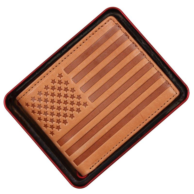 Portofel Levi's din piele maro US flag