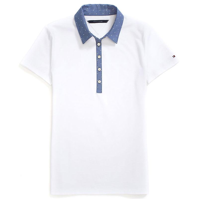 Bluza polo Tommy Hilfiger alba cu guler albastru