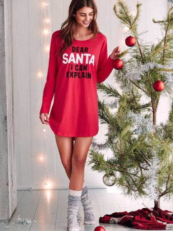 Camasa de noapte Victoria's Secret Angel Sleep Tee Dear Santa