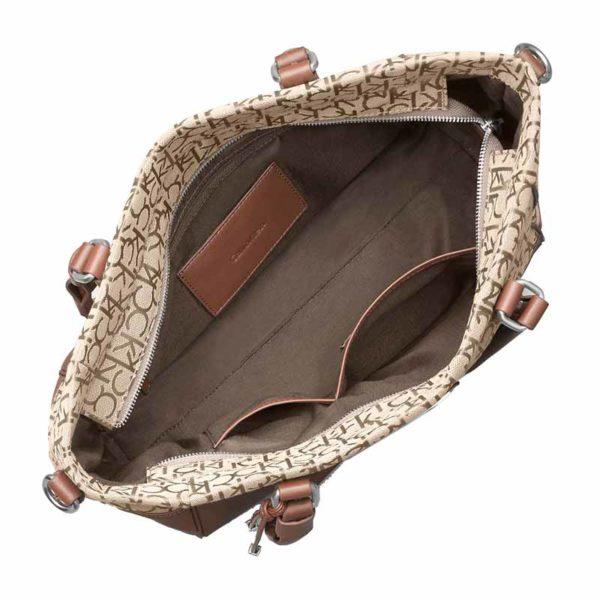 Geanta Calvin Klein Logo Jacquard City Shopper Tote maro - interior