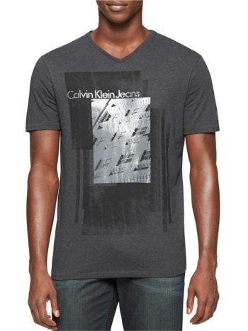 Tricou Calvin Klein Jeans slim fit dark charcoal heather