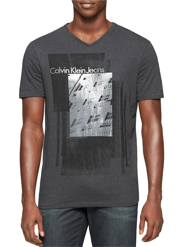 Tricou Calvin Klein Jeans slim fit dark charcoal heather