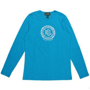 Bluza cu maneca lunga Lauren Ralph Lauren turquoise