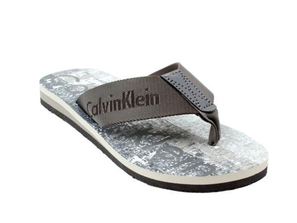 Papuci plaja Calvin Klein gri - detaliu