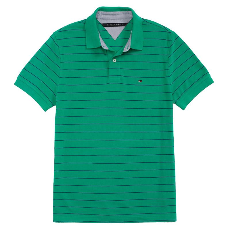 Tricou barbatesc Tommy Hilfiger custom fit polo verde cu dungi albastre