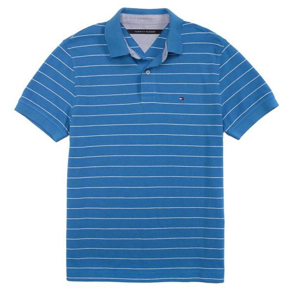 Tricou barbatesc Tommy Hilfiger custom fit polo albastru cu dungi albe