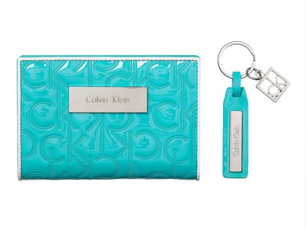 Portofel dama Calvin Klein Sadie Logo French Clutch Gift Set portofel si breloc