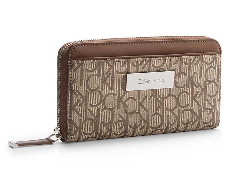 Portofel dama Calvin Klein Logo Jacquard Zip Continental Wallet - side