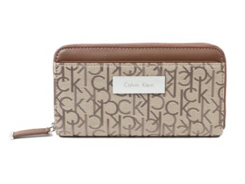 Portofel dama Calvin Klein Logo Jacquard Zip Continental Wallet