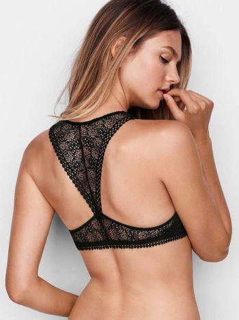 Sutien Victoria's Secret Racerback Bralette negru - model - vedere spate